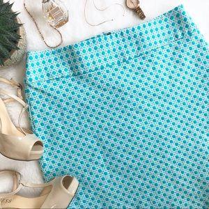 Talbots Turquoise Cane Jacquard A-Line Skirt